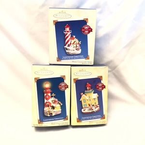 3 Lighthouse Greetings Hallmark Ornaments